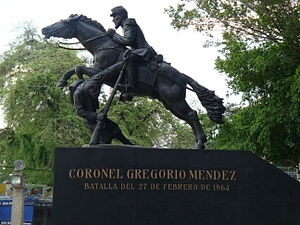 Battle of San Juan Bautista - Monument in honor of the battle depicting Gregorio Méndez