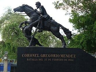 Battle of San Juan Bautista - Monument in honor of the battle depicting Gregorio Méndez