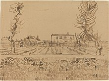 pen and ink drawing of a ploughman in a field near Arles, by Vincent Van Gogh