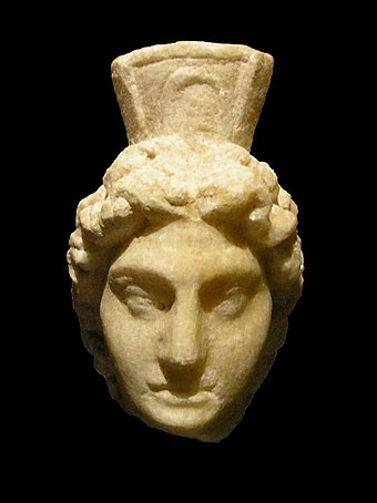 Head of a genius worshipped by Roman soldiers (found at Vindobona, 2nd century CE) Vindobona Hoher Markt-92.JPG
