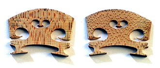 Violin - Front and back views of violin bridge