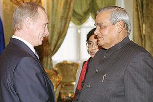 Atal Bihari Vajpayee - Atal Bihari Vajpayee with Russia's president Vladimir Putin.
