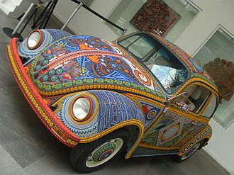 "Art car - The ""Vochol"" decorated with over 2.5 million beads in Huichol style"