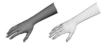 Gesture recognition - A real hand (left) is interpreted as a collection of vertices and lines in the 3D mesh version (right), and the software uses their relative position and interaction in order to infer the gesture.