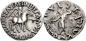 "Vonones of Indo-Scythia - Vonones with brother Spalahores. Obv King mounted on horse right, holding spear, Greek legend around: ΒΑΣΙΛΕΩΣ ΒΑΣΙΛΕΩΝ ΜΕΓΑΛΟΥ / ΟΝΩΝΟΥ. ""Great king Vonones"". Rev Zeus standing facing, holding sceptre and thunderbolt, monogram at right, Kharoshthi legend around: maharajabhrata dhramikasa / spalahorasa ""Of Spalahores, the king's brother, the follower of the Dharma""."