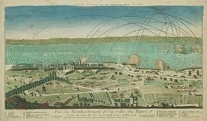 Raid on Le Havre - Image: Vue generale du bombardement du Havre en 1759 par les Anglais