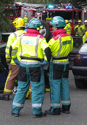 West Midlands CARE Team - West Midlands CARE team doctor and nurse at the scene of an RTC exercise