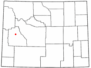 Cora, Wyoming - Image: WY Map doton Cora