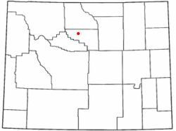Location in Washakie County and the state of Wyoming.