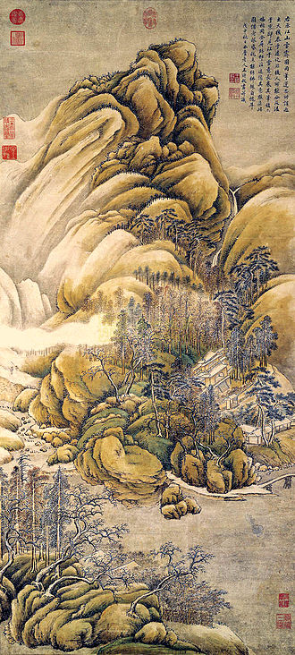 "Wang Wei (Tang dynasty) - Wang Shimin: ""After Wang Wei's 'Snow Over Rivers and Mountains'"". Qing Dynasty."