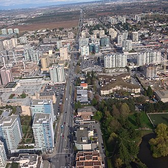 Richmond, British Columbia - East-facing aerial view of Westminster Highway and Canada Line