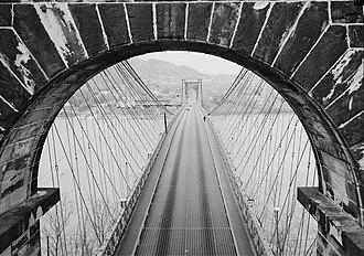 Wheeling Suspension Bridge - View from the Wheeling Suspension Bridge, 1977. Photo taken from City of Wheeling side, looking west toward Wheeling Island.