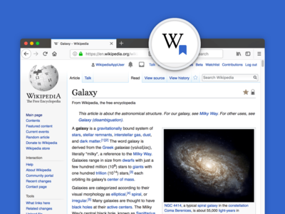 Example Wikipedia article in a Firefox browser tab, with a close up zoom of the Wikipedia Reading Lists extension icon in the address bar.