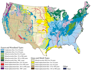 Pre-Columbian savannas of North America - Hypothesized fire regimes of natural communities in the United States. Savannas have regimes of a few years: blue, pink, and light green areas.