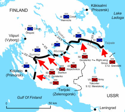 Diagram of the Karelian Isthmus, next to Leningrad, illustrates the positions of the Soviet and Finnish troops early in the war. The Red Army penetrated around 25 to 50 kilometres into Finnish territory on the Isthmus, but was stopped at the defensive Mannerheim Line.