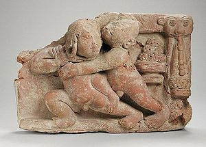 Malla-yuddha - 5th-century terracotta sculpture of wrestlers from Uttar Pradesh
