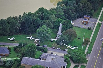 Wyoming, Pennsylvania - An aerial view of the Wyoming Monument, Susquehanna River, and U.S. Route 11. During the flood of 2011, planes from the nearby airport were moved to higher ground.