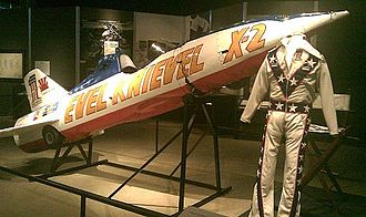 Evel Knievel - Knievel's Skycycle X-2 and canvas jumpsuit on display at the Harley-Davidson Museum in September 2010.