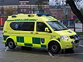 Yellow VW ambulance with high visibilty marking, Sweden.jpg