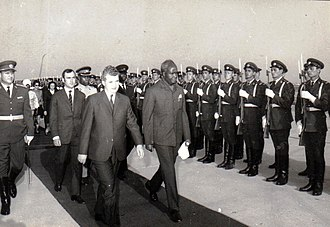 Zambia - Kenneth Kaunda, first Republican president, on a state visit to Romania in 1986.
