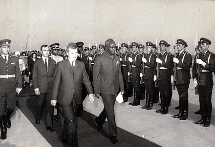 Kenneth Kaunda, first Republican president, on a state visit to Romania in 1970 Zambia123f.jpg