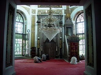 Zeyrek Mosque - The interior of the Mosque, formerly the church of Christ Pantokrator. The byzantine floor in opus sectile lies under the carpet.