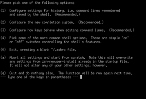 Z shell - Z shell's configuration utility for new users