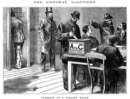 "A polling booth in Melbourne - David Syne and Co (c.1880) ""Interior of polling booth"" - David Syne and Co (1880).jpg"