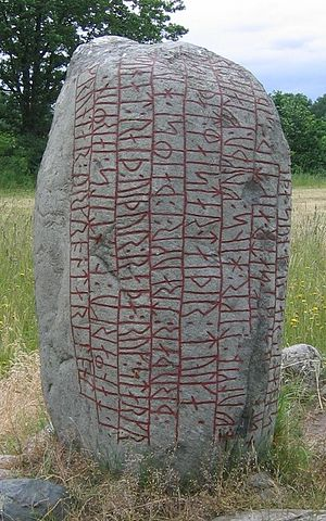 "Old Norse poetry - The Karlevi Runestone inscription is a skaldic Old Norse poem in dróttkvætt, the ""courtly metre"", raised in memory of a Viking chieftain."