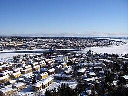 Östersund og Frösön i vinterdragt (marts 2009).