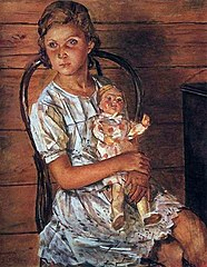 A girl with a doll