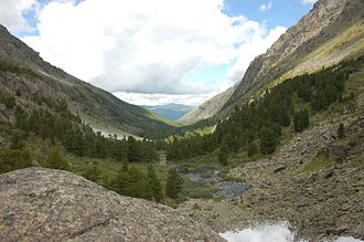 U-shaped valley - A glaciated valley in the Altai Mountains showing the characteristic U shape.
