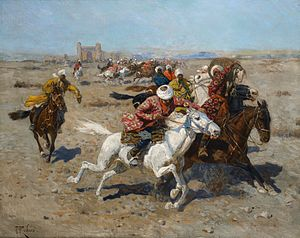 Buzkashi -  Playing Kokpar by Franz Roubaud