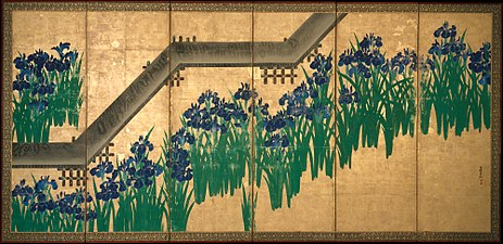 八橋図屏風 -Irises at Yatsuhashi (Eight Bridges) MET DT231.jpg