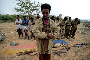 Ogaden National Liberation Front - ONLF rebels practicting salat, Muslim daily prayers