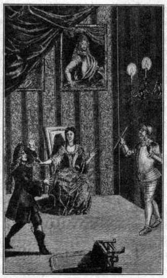 "Ghost (Hamlet) - The ghost (right) appears to Hamlet (left) in the ""closet scene"", from Rowe's edition of Shakespeare's works (1709), showing the Prince and Queen in contemporary dress; the former king's portrait is on the wall behind"