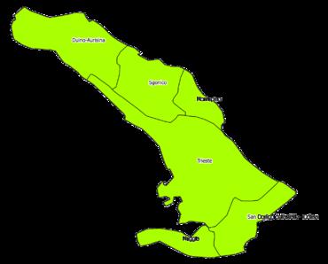 Mappa della provincia con i nomi dei comuni