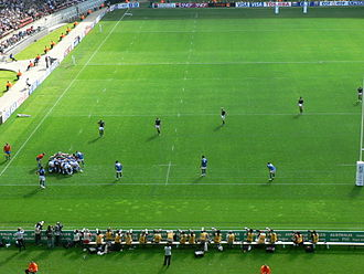 Rugby union positions - The forwards are in the scrum while the backs are lined up across the field.