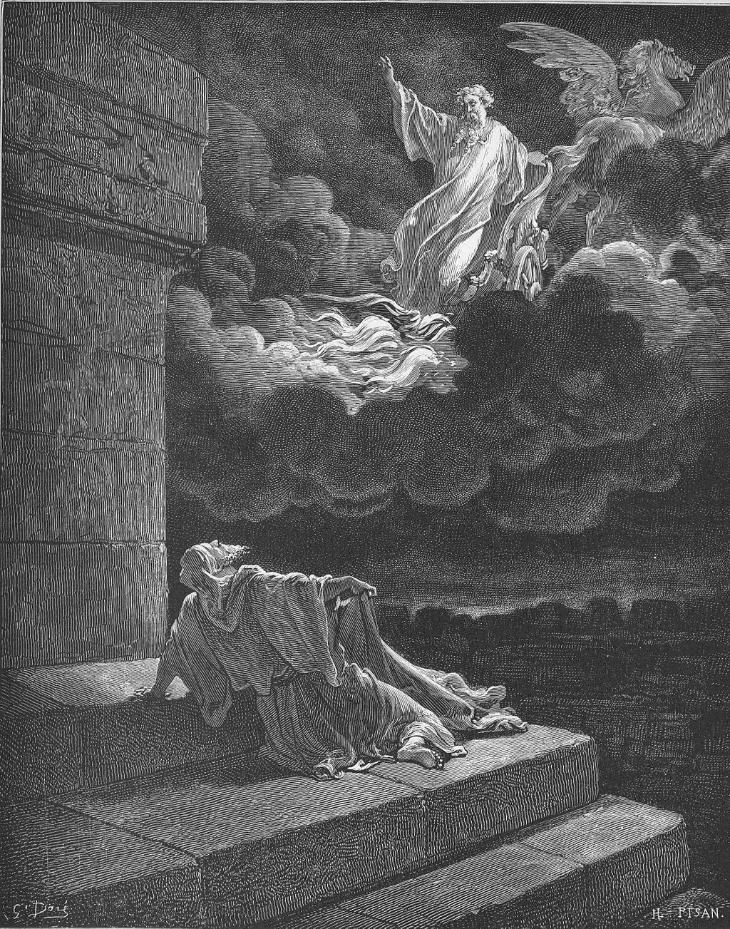 불병거를 타고 승천하는 엘리야 (귀스타브 도레, Gustave Doré, 1866년)