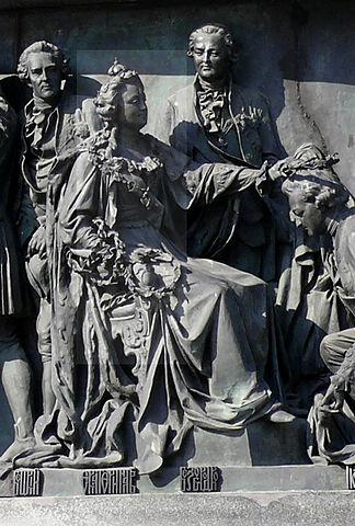 Екатерина II и Григорий Потёмкин на Памятнике «1000-летие России» в Великом Новгороде