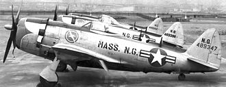 101st Intelligence Squadron - 101st Fighter Squadron F-47N Thunderbolts at Logan Airport, Boston, 1949. Republic P-47N-25-RE Thunderbolt 44-89347 in foreground.