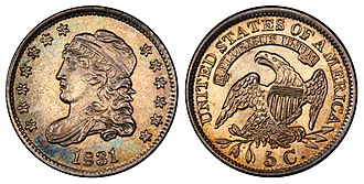 Capped Bust - Image: 1831 5C (clashed reverse die)