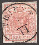 1850 Stamp Austria-Hungary 0003, Trient, November.jpg