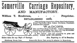 Timeline of Somerville, Massachusetts - Image: 1883 Somerville Carriage Repository ad Somerville Directory
