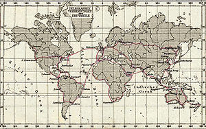 Major telegraph lines in 1891