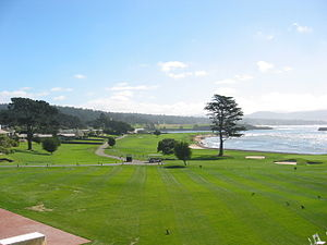 View back up the 18th hole at Pebble Beach Gol...