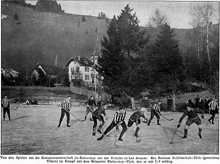 A ice hockey game between Berliner Schlittschuhclub and Brussels Royal IHSC, January 1910 1910 Ice Hockey European Championships - Berlin vs Brussels.jpg