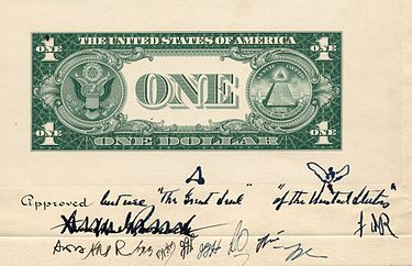 President Franklin Roosevelt's conditional approval of the one-dollar bill's design in 1935, requiring that the appearance of the sides of the Great Seal be reversed, and together, captioned. 1935 Dollar Bill Back Early Design.jpg