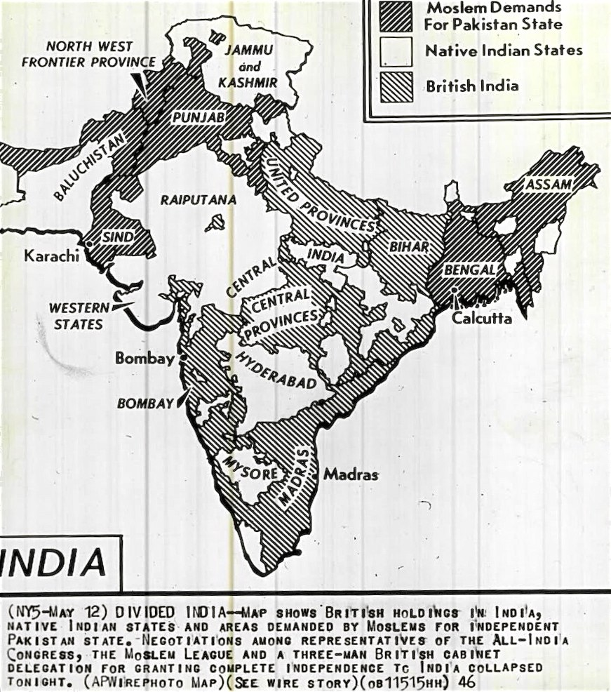 1946 Map of British India with areas demanded for separate Pakistan by Muslim League