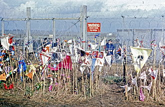 Anti-nuclear movement in the United Kingdom - 8 April 1985, CND placards against the RAF Molesworth fence
